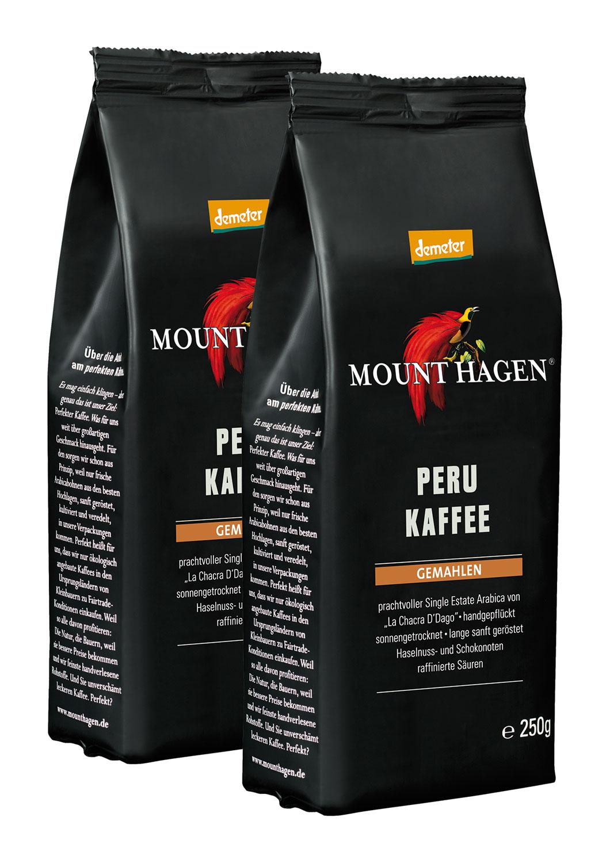 2er Pack Mount Hagen Demeter Röstkaffee Peru- 250g