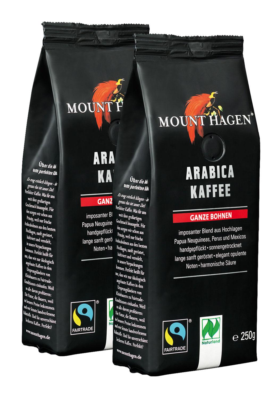 2er Pack Mount Hagen BIO Röstkaffee Arabica ganze Bohnen - 250g
