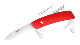 Swiza Schweizer Messer D03, Stahl 440, rote Anti-Rutsch Griffschale