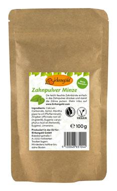 Birkengold Zahnpulver Nachfüllbeutel 100g - vegan - Minze_small