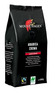 Mount Hagen Bio Röstkaffee Arabica Crema ganze Bohne