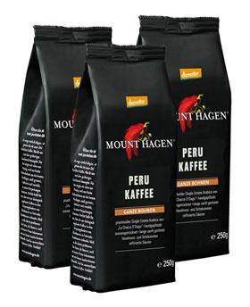 2er Pack Mount Hagen Demeter Röstkaffee Peru ganze Bohne 250g
