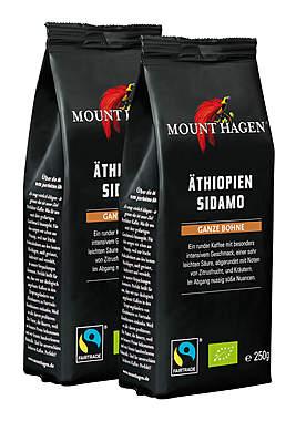 2er Pack Mount Hagen Bio Röstkaffee Äthiopien Sidamo ganze Bohne