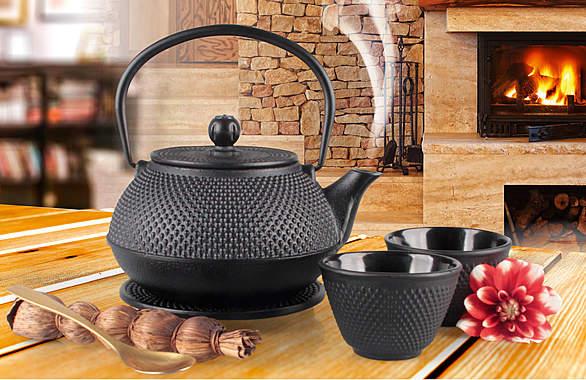Gusseisen-Teekanne mit Edelstahl-Filter und 2 Bechern plus Untersetzer_small