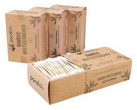 4er Pack Pandoo plastikfreie Wattestäbchen aus Bambus und Bio-Baumwolle_small