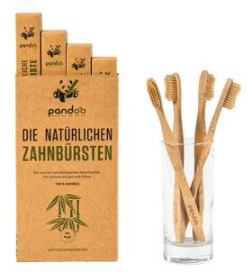 4er Pack Pandoo natürliche Zahnbürsten aus Bambus_small