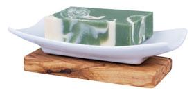 Seifenablage aus Porzellan auf Olivenholzfuß_small01