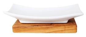 Seifenablage aus Porzellan auf Olivenholzfuß_small02