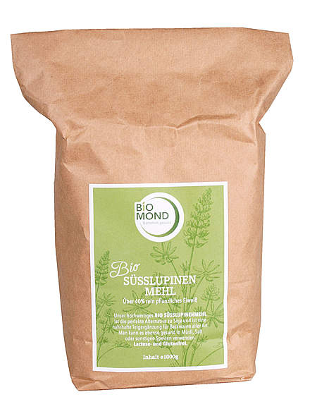 Bio Süßlupinenmehl 1 kg im umweltfreundlichen Papierbeutel - vegan
