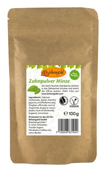 Birkengold Zahnpulver Nachfüllbeutel 100g - vegan - Minze