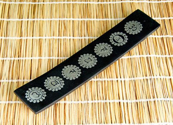 Räucherstäbchenhalter Chakrahalter schwarz aus Speckstein