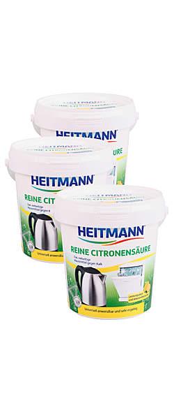 3er Pack Heitmann Reine Citronensäure - 650g