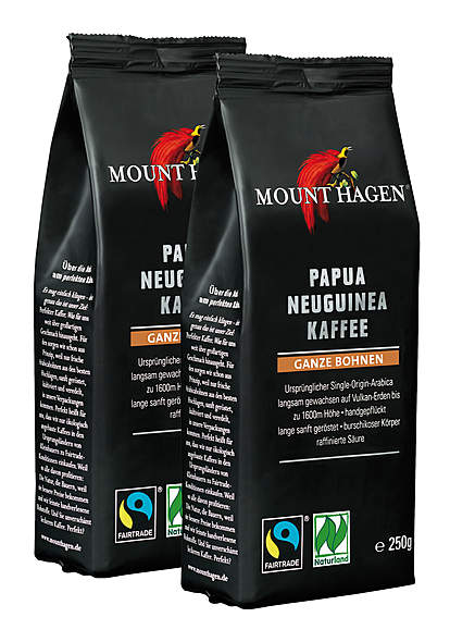 2er Pack Mount Hagen BIO Papua Neuguinea Kaffee, ganze Bohne - 250g