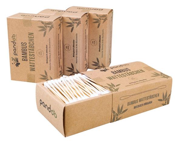 4er Pack Pandoo plastikfreie Wattestäbchen aus Bambus und Bio-Baumwolle