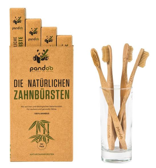 4er Pack Pandoo natürliche Zahnbürsten aus Bambus