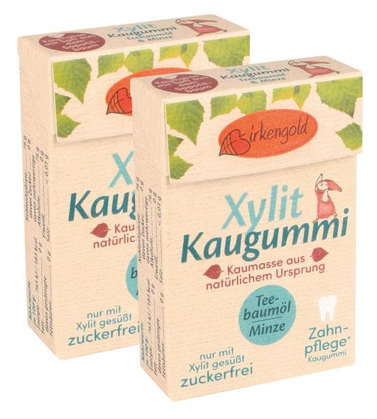 Birkengold ®  Xylit-Kaugummi Teebaumöl/Minze