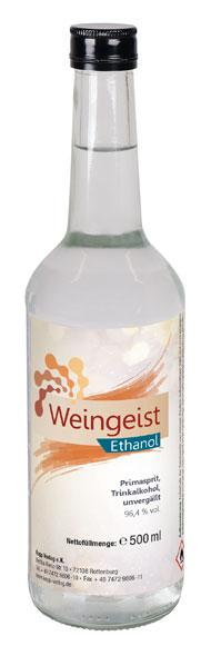 Kopp Weingeist - Ethanol - 500 ml, inklusive Mischtabelle