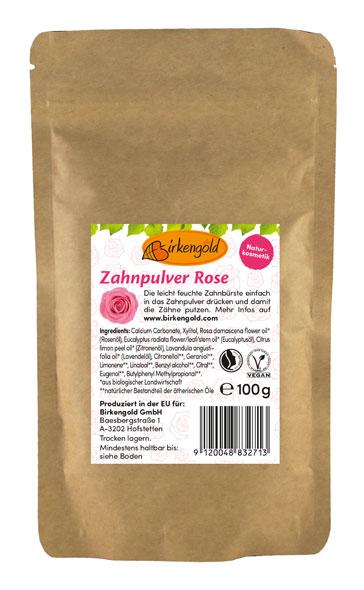 Birkengold® Zahnpulver Rose Nachfüllbeutel mit 100 g