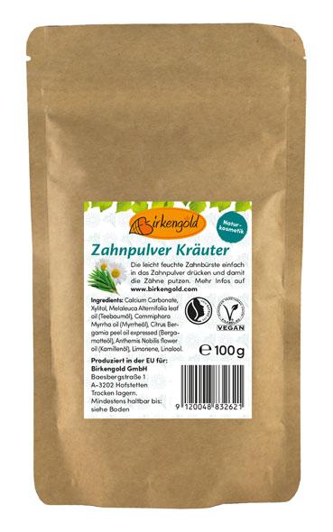 Birkengold® Zahnpulver Kräuter Nachfüllbeutel mit 100 g