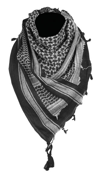 Halstuch Shemagh - 110 x 110 cm - Schwarz/Weiß