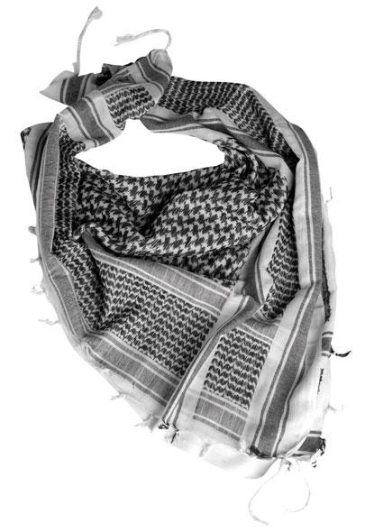 Halstuch Shemagh - 110 x 110 cm - Weiß/Schwarz