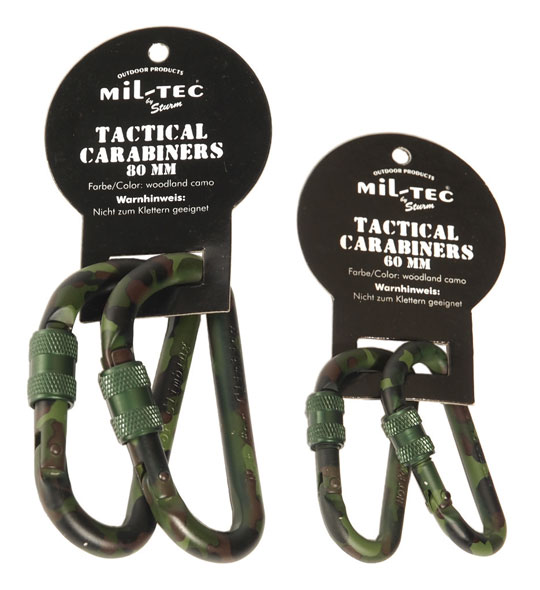 Mil-Tec® Karabinerhaken mit Schraubverschluss (1 Paar) - 60 mm
